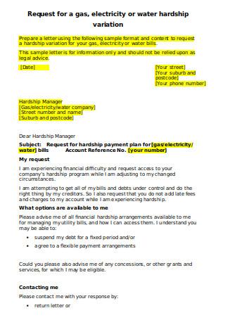 Utility Hardship Letter