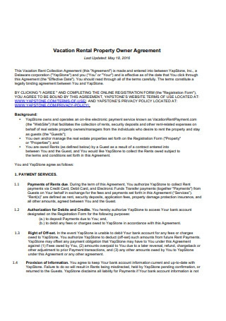 Vacation Rental Property Owner Agreement