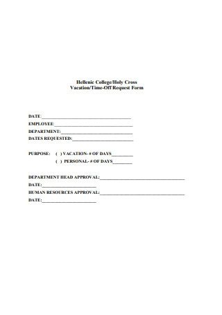 Vacation Time Off Request Form Example