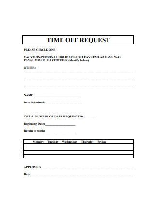 Vacation Time Off Request Form Sample