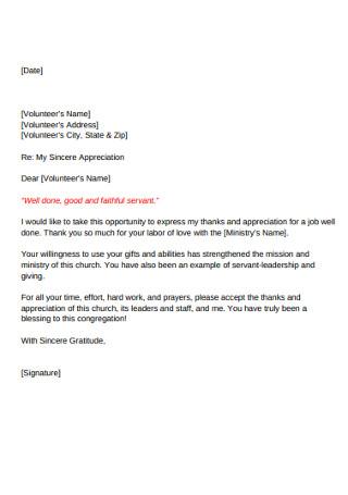 Volunteer Letter of Appreciation