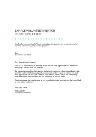 Volunteer Mentor Rejection Letter