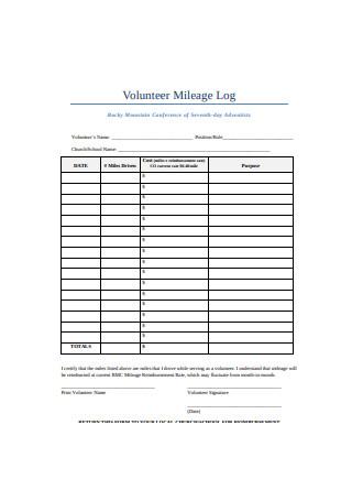 Volunteer Mileage Log
