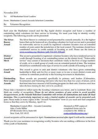 Volunteer Recognition Nomination Letter