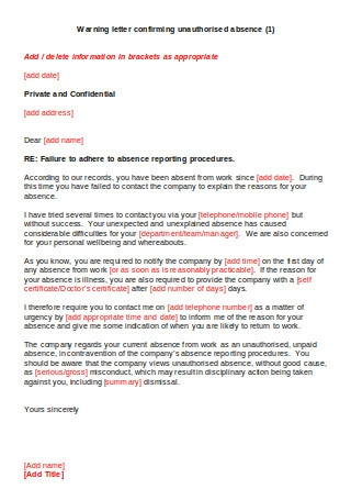 Warning Letter Confirming Unauthorised Absence