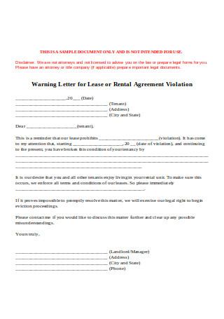 Warning Letter for Lease or Rental Agreement Violation