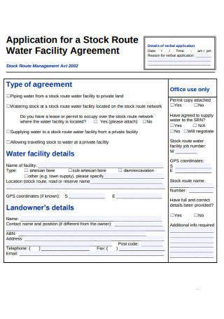 Water Fsacility Agreement