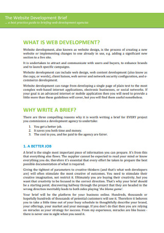 Website Deveploment Brief Template