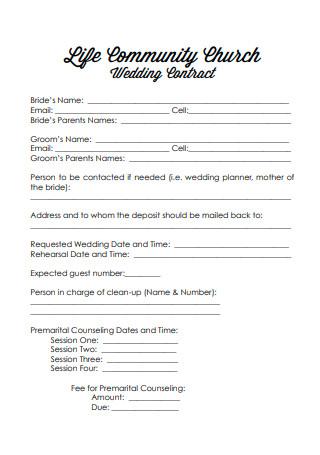 Wedding Contract Format