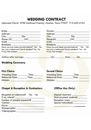 Wedding Contract Letter Head