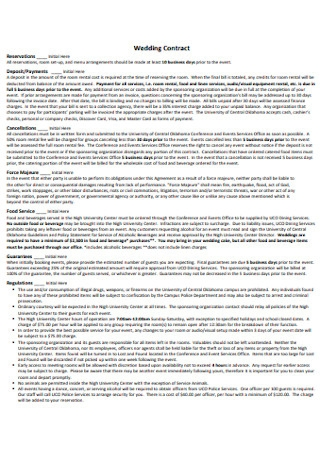 Wedding Contract in PDF