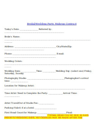 Wedding Party Makeup Contract