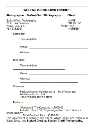 Wedding Photography Contract Sample