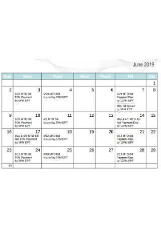 Weekly Billing Calendar