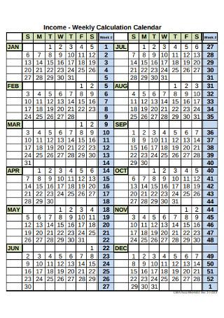 Weekly Calculation Calendar