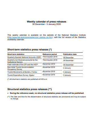Weekly Calendar of Press Releases