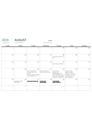 Weekly Calendars Template