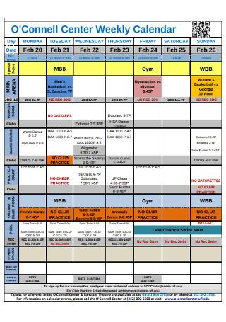 Weekly Center Calendar