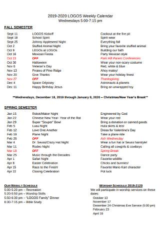 Weekly Fall Semister Calendar