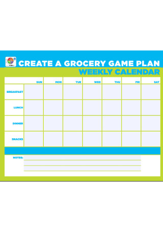 Weekly Game Plan Calendar