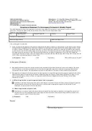 Weekly Payroll Statement of Compliance