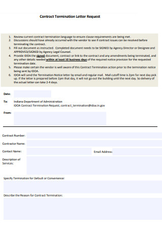 Wonderful Contract Termination Request Letter