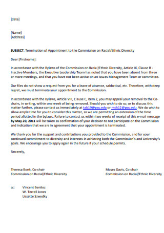 Wonderful Termination of Appointment Letter