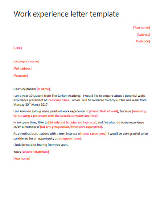 Work Experiance Letter Template