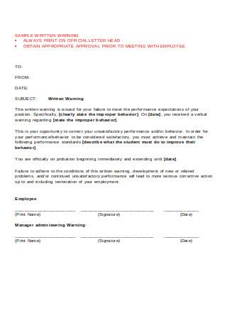 Written Warning Sample