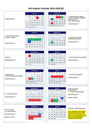 Year Student Calendar