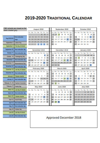 Year Traditional Calendar