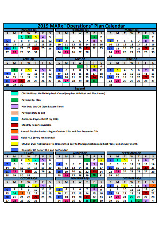 Yearly Operation Plan Calendar
