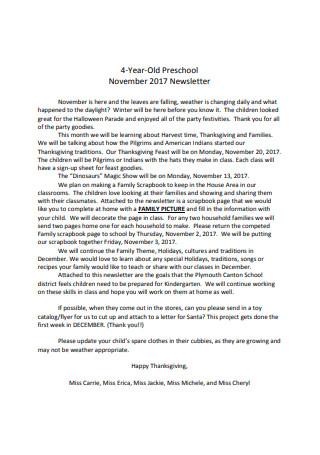 4 Year Old Preschool Newsletter