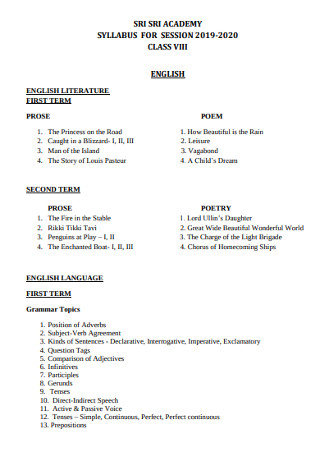 Academic Syllabus for Session