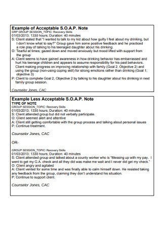 Acceptable SOAP Note Example