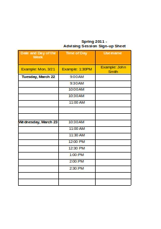 Advising Session Sign up Sheet