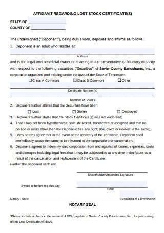 Affidavit Regarding Stock Certificate