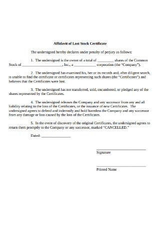 Affidavit of Lost Stock Certificate