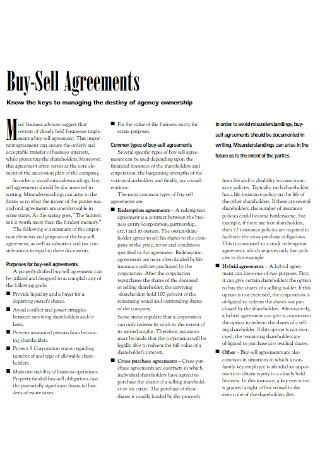Agency Buy Sell Agreement
