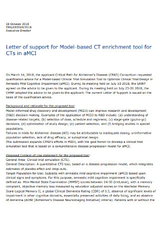 Agency Letter of Support