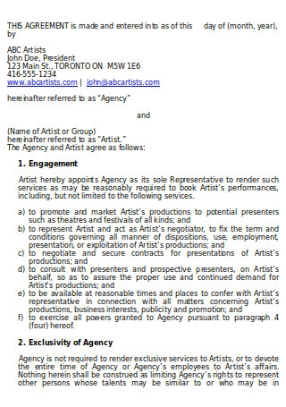 Agency Representation Agreement