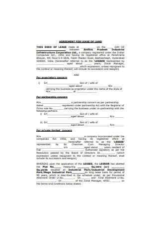 Agreement for Lease of Land