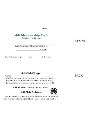 Agriculture Membership Card