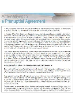 Alternatives of Prenuptial Agreement