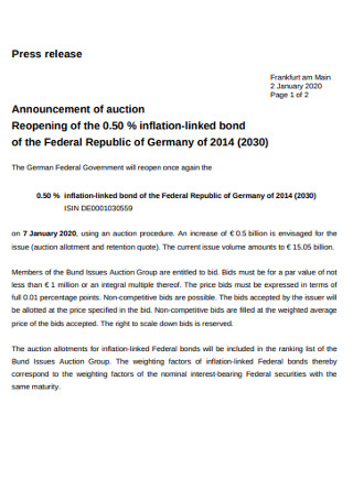 Announcement of Auction Press Release