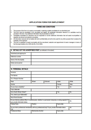 Application Form for Employment Example