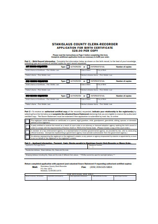 Application for Birth Certificate Example