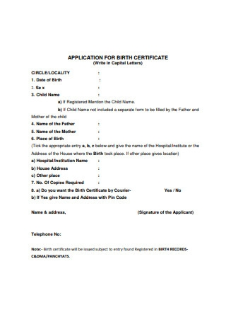 Application for Birth Certificate