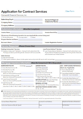 Application for Contract Services