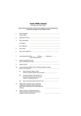 Application for Study Leave Format